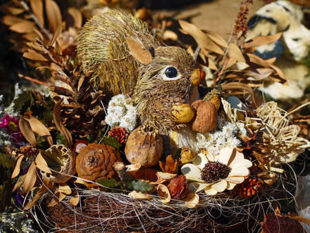 Straws squirrel with nuts, cones and shells Stock Photo