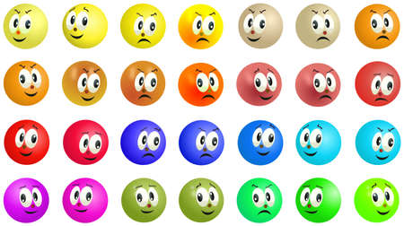 Set of grinning and smiling colored balls faces