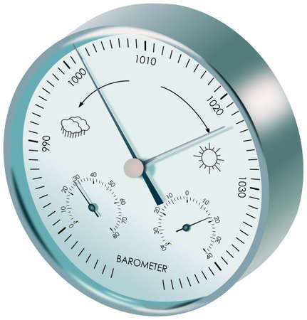 humidity gauge: Metal analogue barometer with dials and symbols of weather