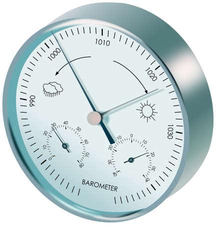 pluviometro: Metal bar�metro anal�gico con diales y s�mbolos del tiempo Foto de archivo