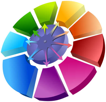 cycle arrows: Spatial colorful circle graph with arrows above