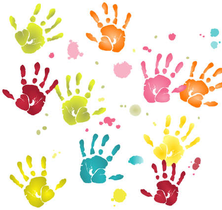 Variously colored flat hands imprints and paint blots