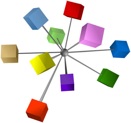 Colored shaded cubes connected into centre sphere Stock Photo
