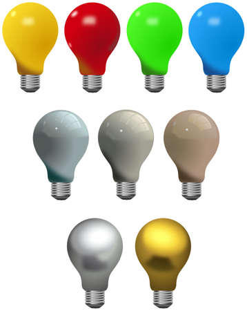 Set of nine different colored light bulbs