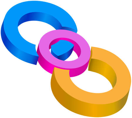 centric: Colored centrical circles joined together Stock Photo