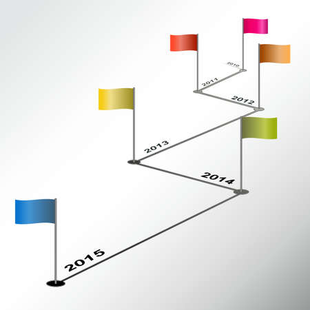 Infographic timeline report with zig-zag colored flags