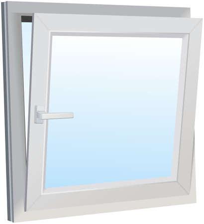 Opened slanted modern window with light blue background Imagens