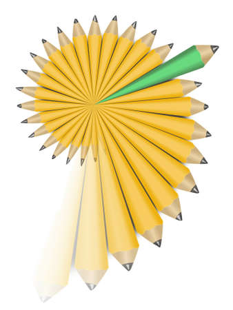 diversify: Yellow and one green office wooden pencils in swirl