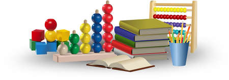 educational tools: Toys, abacus, books and pencils. Educational tools and concept