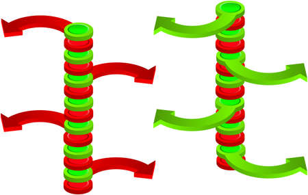 divergence: Contradictory green and red spatial vertical arrows