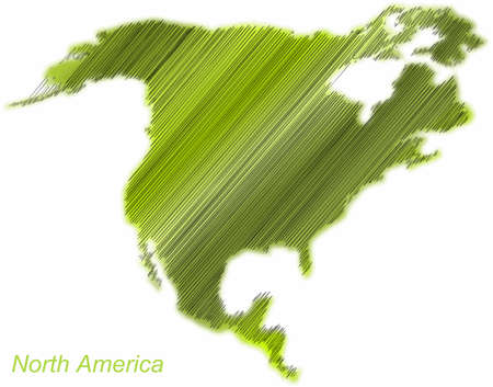 hatched: North America continent hatched and colored Illustration
