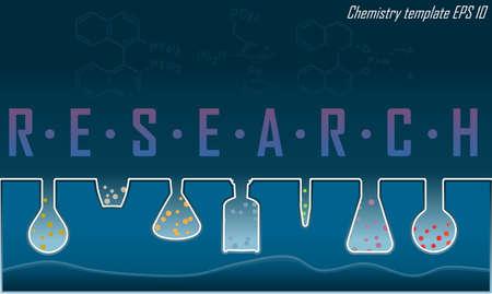 a substance vial: Laboratory glass line concept dark blue Illustration