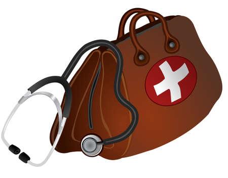 Brown doctors bag with white cross and stethoscope. Ilustração