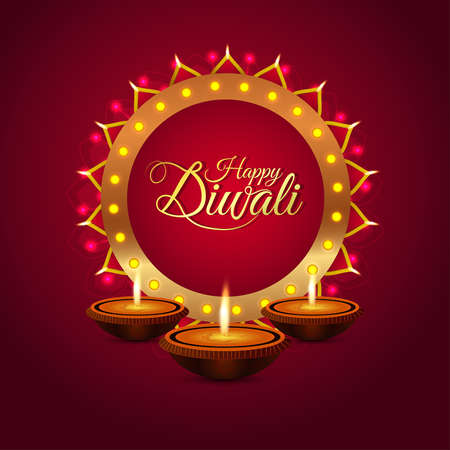 Happy diwali celebration greeting card with creative illustration and background