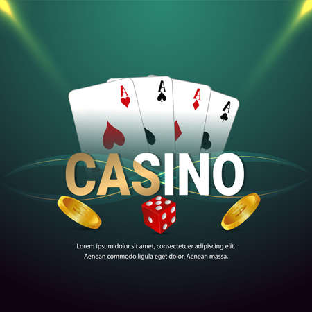 Casino vip luxury gambling game with chips, cards and dice 矢量图片
