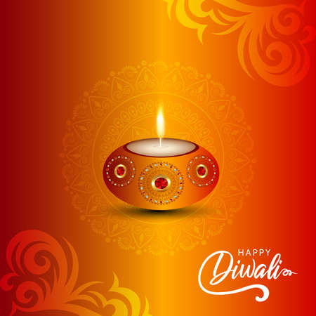 Happy diwali celebration greeting card with creative diwali oil diya on creative background