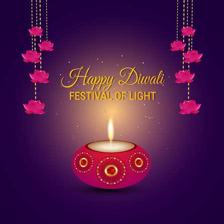 Creative vector illustration of happy diwali indian festival greeting card with diwali diya on puple background