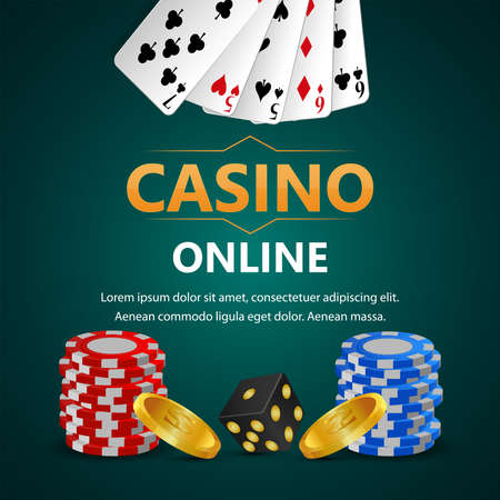 Realistic casino gambling game with vector playing cards, chips and gold coin