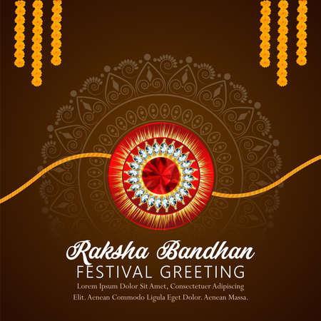 Creative vector illusration of happy raksha bandhan celebration greeting card with creative rakhi