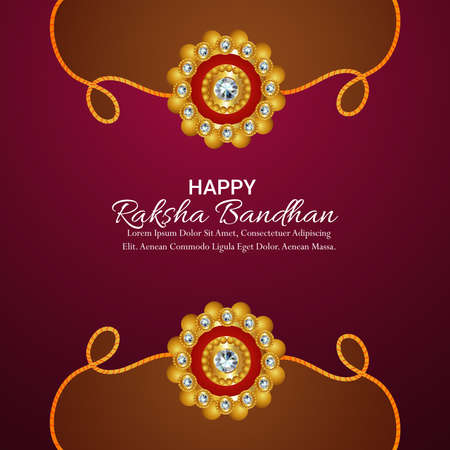 Indian festival happy raksha bandhan celebration greeting card with crystal rakhi and gifts