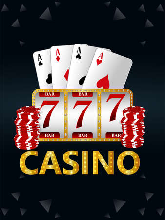 Casino gambling game with vector illustration of slot machine and palying cards