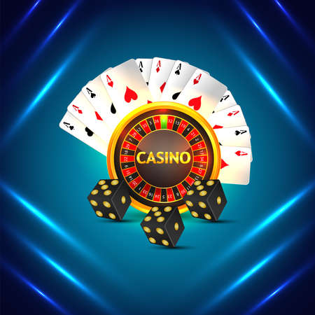 Casino online background with roulette wheel and playing cards Vektorové ilustrace