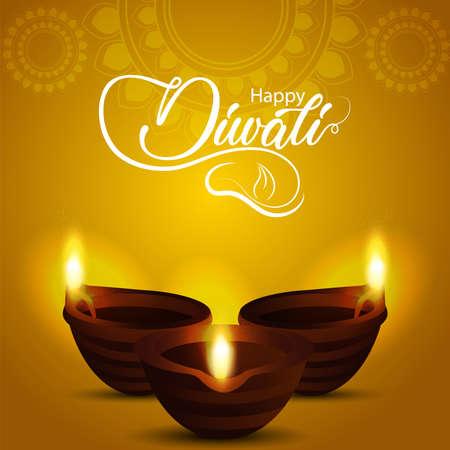 Vector illustration of happy diwali celebration background with glowing diwali diya Vektorové ilustrace