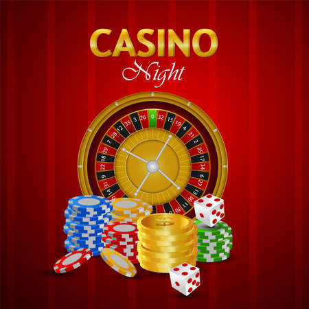 Casino luxury vip gambling game banner with playing cards and chips