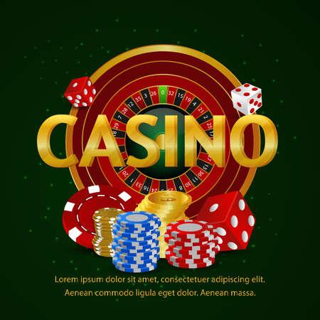 Casino online golden text effect with slot machine Vettoriali