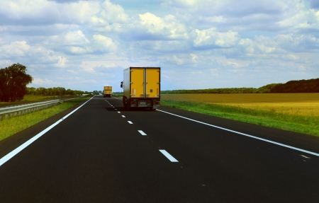 Cargo Track moves on the HighWay  Stock Photo