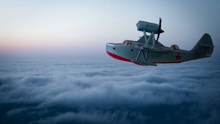 Beriev mbr-2 wwii soviet army flying boat above the clouds