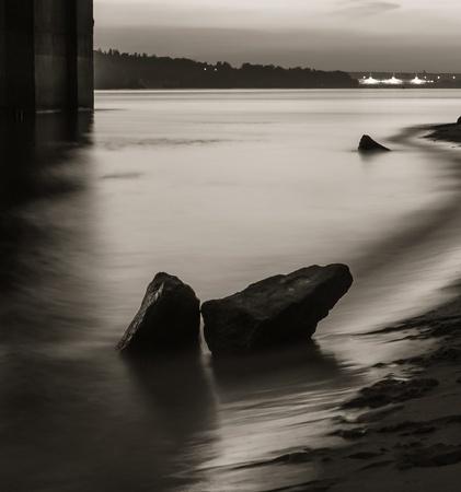 River under bridge shore Landscape