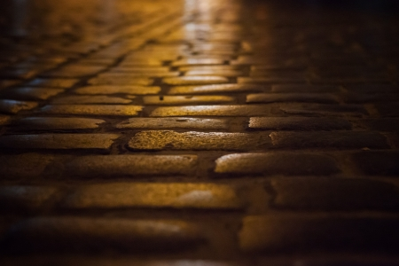 Old City Lviv, Ukraine  Night paving stone street