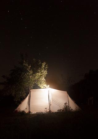 Night camping ten on the dark sky Stock Photo