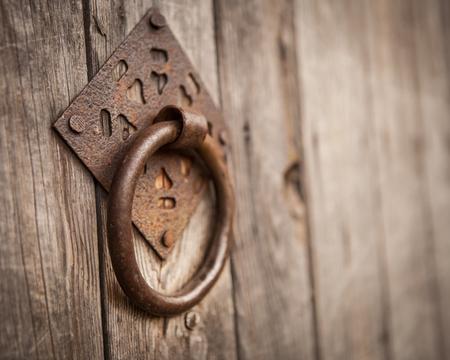 Vintage old wooden gate door handle