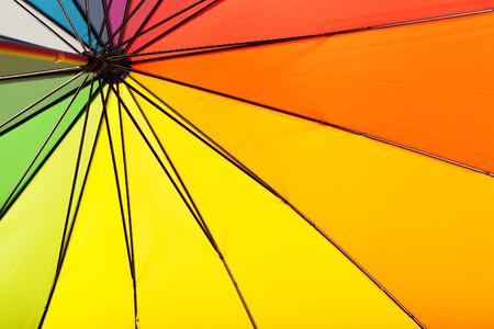 Multicolored umbrella inside view