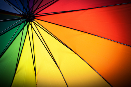 Multicolored umbrella inside view