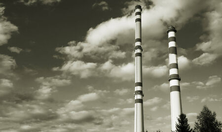 Thermal power plant black and white Stock Photo