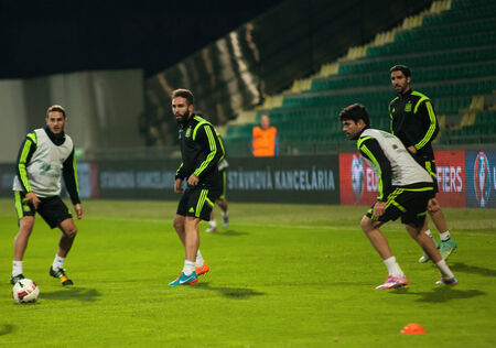 iniesta: ZILINA, SLOVAKIA  - OCTOBER 8, 2014: Spain national team players take part in a training session ahead of their UEFA EURO 2016 qualifier against Slovakia Editorial