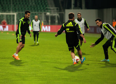 ZILINA, SLOVAKIA  - OCTOBER 8, 2014: Spain national team players take part in a training session ahead of their UEFA EURO 2016 qualifier against Slovakia Editorial
