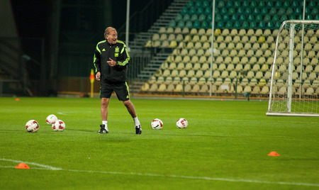 iniesta: ZILINA, SLOVAKIA  - OCTOBER 8, 2014: Spain national team Jose Antonio Grande Head Coach assistant during training session ahead of Spain Team UEFA EURO 2016 qualifier against Slovakia Editorial