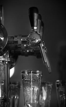 Beer tap in the bar Black and White
