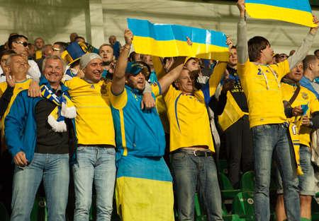 Zilina, Slovakia -  SEPTEMBER 8: Ukrainian national soccer team Fans  during a UEFA EURO 2016   Slovakia - Ukraine match on September 8, 2015 in Zilina, Slovakia.