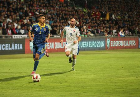 Zilina, Slovakia -  SEPTEMBER 8: Yevhen Khacheridi - ukrainian national soccer team player  during a UEFA EURO 2016   Slovakia - Ukraine match on September 8, 2015 in Zilina, Slovakia. Editorial