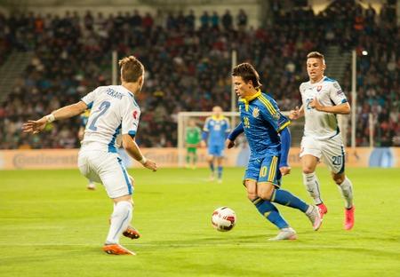 Zilina, Slovakia -  SEPTEMBER 8: Yevhen Konoplyanka - ukrainian national soccer team player  during a UEFA EURO 2016   Slovakia - Ukraine match on September 8, 2015 in Zilina, Slovakia.