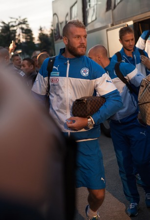 Zilina, Slovakia -  SEPTEMBER 8:  Miroslav Stoch slovak national soccer team player comes on stadium for a UEFA EURO 2016   Slovakia - Ukraine match on September 8, 2015 in Zilina, Slovakia.