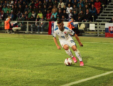 Zilina, Slovakia -  SEPTEMBER 8: Robert Mak - slovak national soccer team player  during a UEFA EURO 2016   Slovakia - Ukraine match on September 8, 2015 in Zilina, Slovakia. Editorial