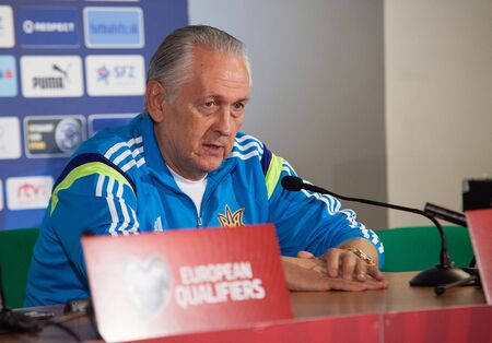 Zilina, Slovakia -  SEPTEMBER 7: Ukrainian national soccer team head coach Mykhailo Fomenko  during a UEFA EURO 2016  Slovakia - Ukraine pre-match conference on September 7, 2015 in Zilina, Slovakia.