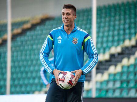 Zilina, Slovakia -  SEPTEMBER 7: Yevhen Khacheridi as a ukrainian national soccer team player  during a UEFA EURO 2016   Slovakia - Ukraine pre-match training on September 7, 2015 in Zilina, Slovakia.