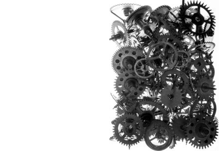 a watchman: Old watch gears background isolated on the white